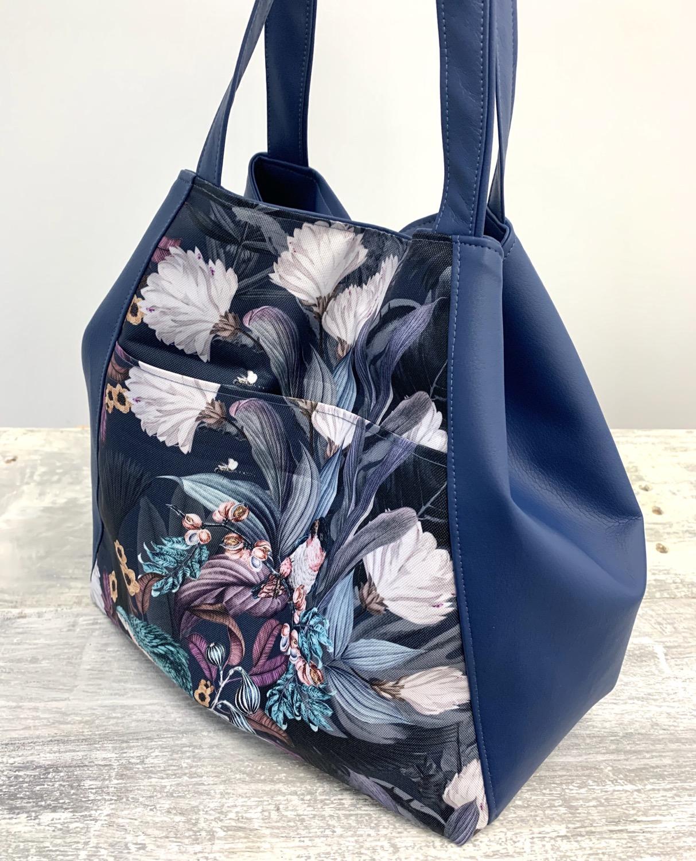 City bag bleu marine & perroquets bleus