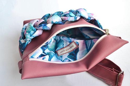 Banana sac tresse vieux rose & plumes geants