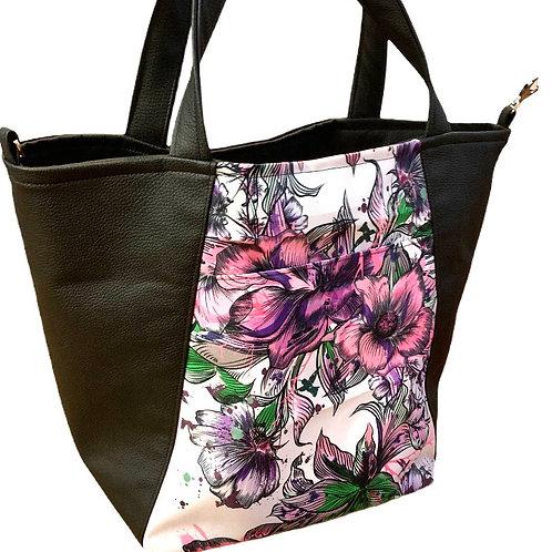 Un CITY BAG noir & fleurs roses dessinés