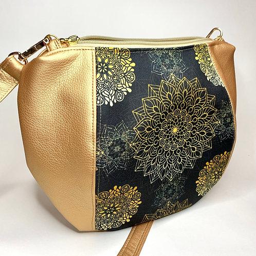 Un sac bandoulière MINI DEI LUNE rose doré & mandala noir
