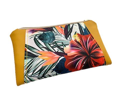 Un portefeuille jaune moutarde & hibiscus