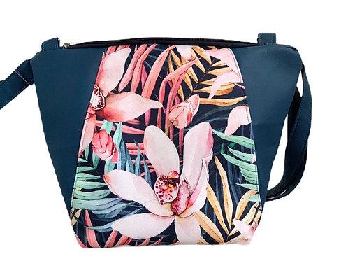 Un sac bandoulière MEDIO P bleu marine & big flowers