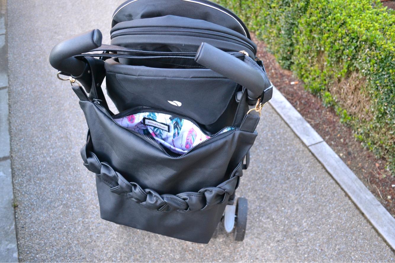 Grand sac poussette tresse noir