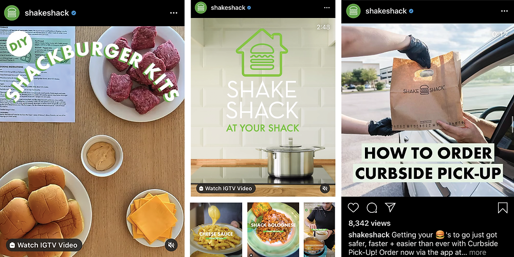 Snapshot of Shake Shack's impressive social media content during the pandemic