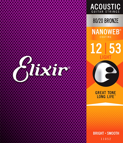 Elixir 11052 80/20 Light Gauge strings 12-53