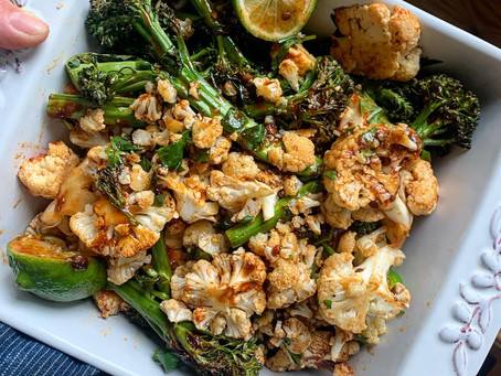 Chipotle Lime Roasted Cauliflower + Broccolini