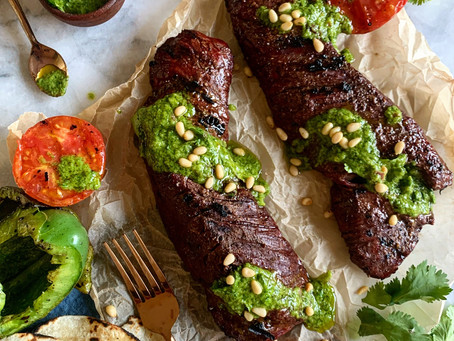 Cumin + Salt Rubbed Steak with Cilantro Chimichurri + Grilled Vegetables