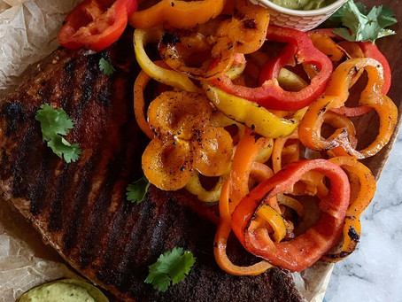 My Favorite Sweet + Spicy Rubbed Steak Fajitas with Avocado Spread