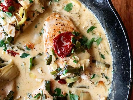 Creamy Italian Artichoke + Sun-Dried Tomato Chicken
