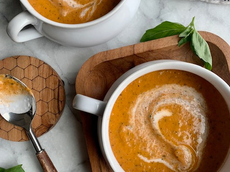 My Favorite Roasted Tomato + Basil Soup