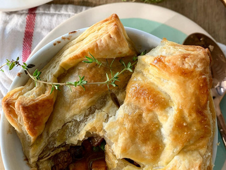Worcestershire Beef + Sweet Potato Stew with Puffed Pastry