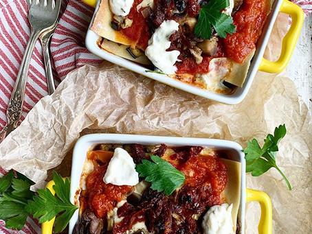 Gluten Free 3 Cheese Roasted Eggplant + Sun-Dried Tomato Lasagna