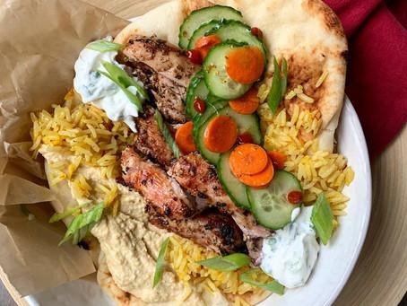 Garlic + Herb Grilled Chicken with Saffron Rice + Cucumber Salad Naan Wrap