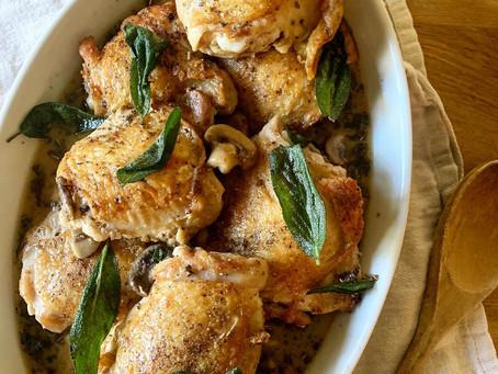 Sage Braised Chicken Thighs with Mushroom Pan Sauce