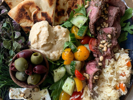 Greek Steak + Cucumber Salad with Herb Oil, Olives + Naan