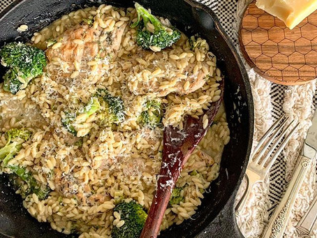 Lemon Thyme Cheesy Chicken & Orzo Bake with Broccoli