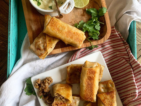 Green Chile Lime + Cheesy Beef Egg Rolls with Chile Dip