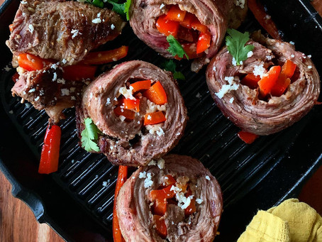 Red Pepper + Cojita Rolled Flank Steak Fajitas