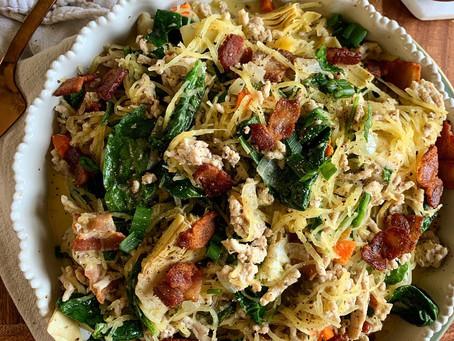 Chicken Artichoke + Spinach Bake with Bacon + Spaghetti Squash