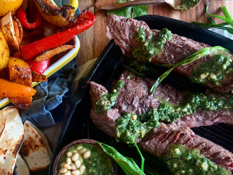 Cilantro Pesto Fajita Steaks with Charred Peppers + Onions