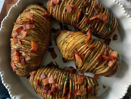 Rosemary Butter + Bacon Hasselback Potatoes