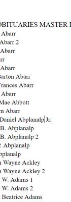 Matser List Page One