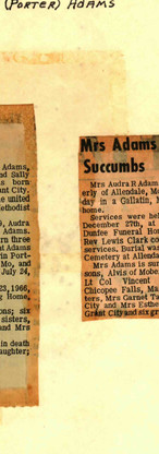 40. Ruthie Audra Porter Adams