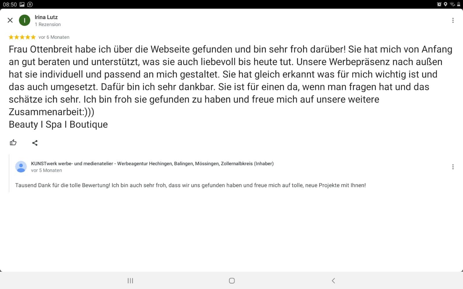Google Rezession für KUNSTwerk der Werbeagentur in Hechingen, Balingen und dem Zollernalbkreis