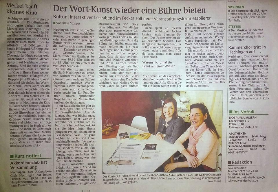 Zeitungsartikel Schwarzwälder bote Nadine Ottenbreit