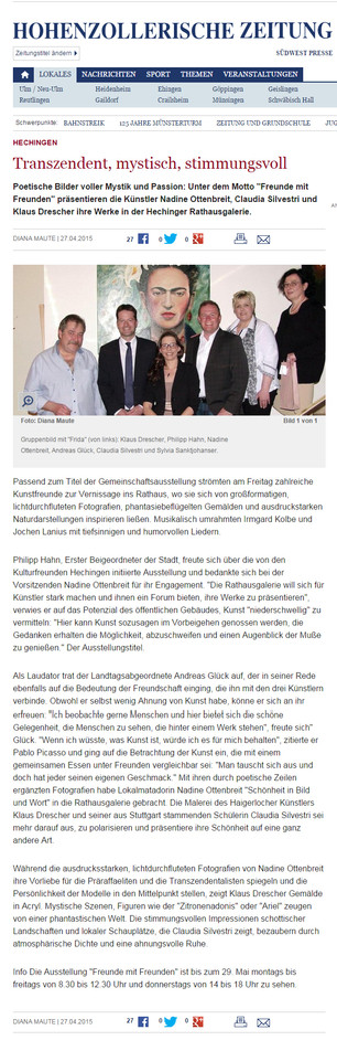 Zeitungsartikel Hohenzollerische Zeitung Nadine Ottenbreit