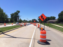 New lane configuration at east end of project