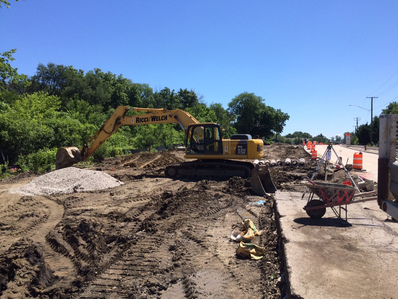 Storm sewer operations east of Kautz Road