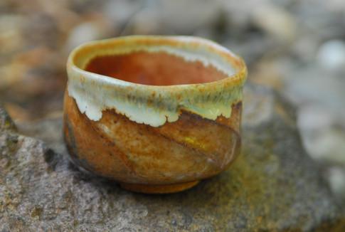 Textured bowl with shino glazes