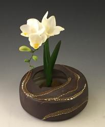 Black stoneware ikebana vase