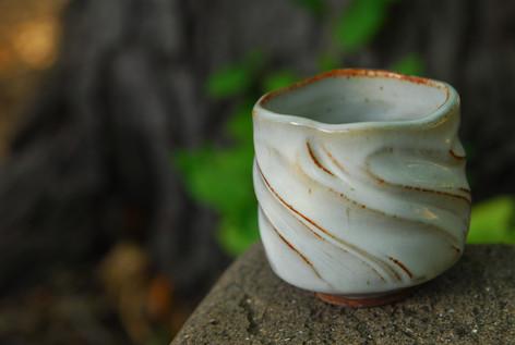 Textured bowl with white glaze $35