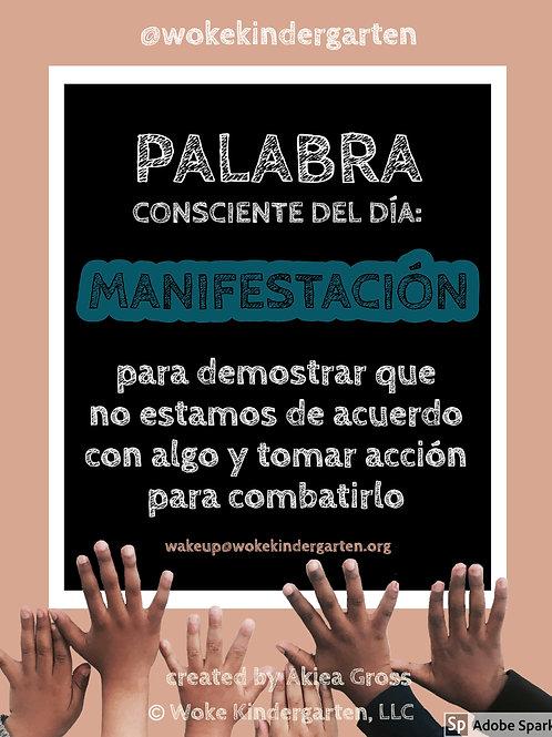 Palabra Consciente Del Dia MANIFESTACION by Woke Kindergarten
