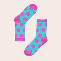 Blue socks with pink dots