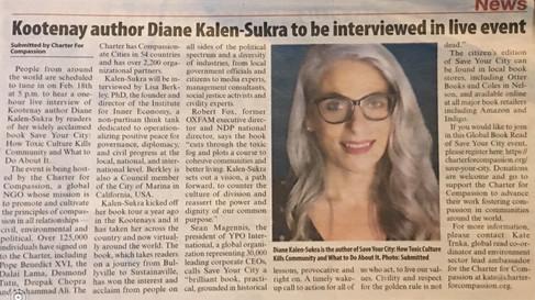 Kootenay author Diane Kalen-Sukra to be interviewed in live global read