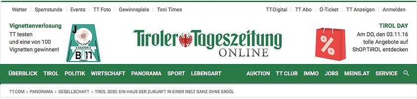 Tiroler Tageszeitung Artikel über Julians RaumManufaktur, Julian Fischer