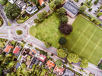 Aerial view of Dutch town, builidings, p