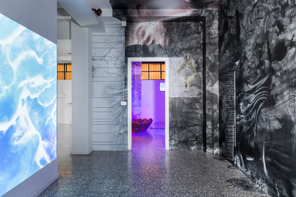 Right: Joey Holder, Porphyrin [πορφύρα], 2017; Left: Eva Papamargariti, Facticious Imprints, 2016, ongoing series