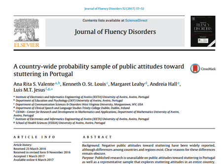Artigo da TF Rita Valente (CTGaguez) publicado no Journal of Fluency Disorders