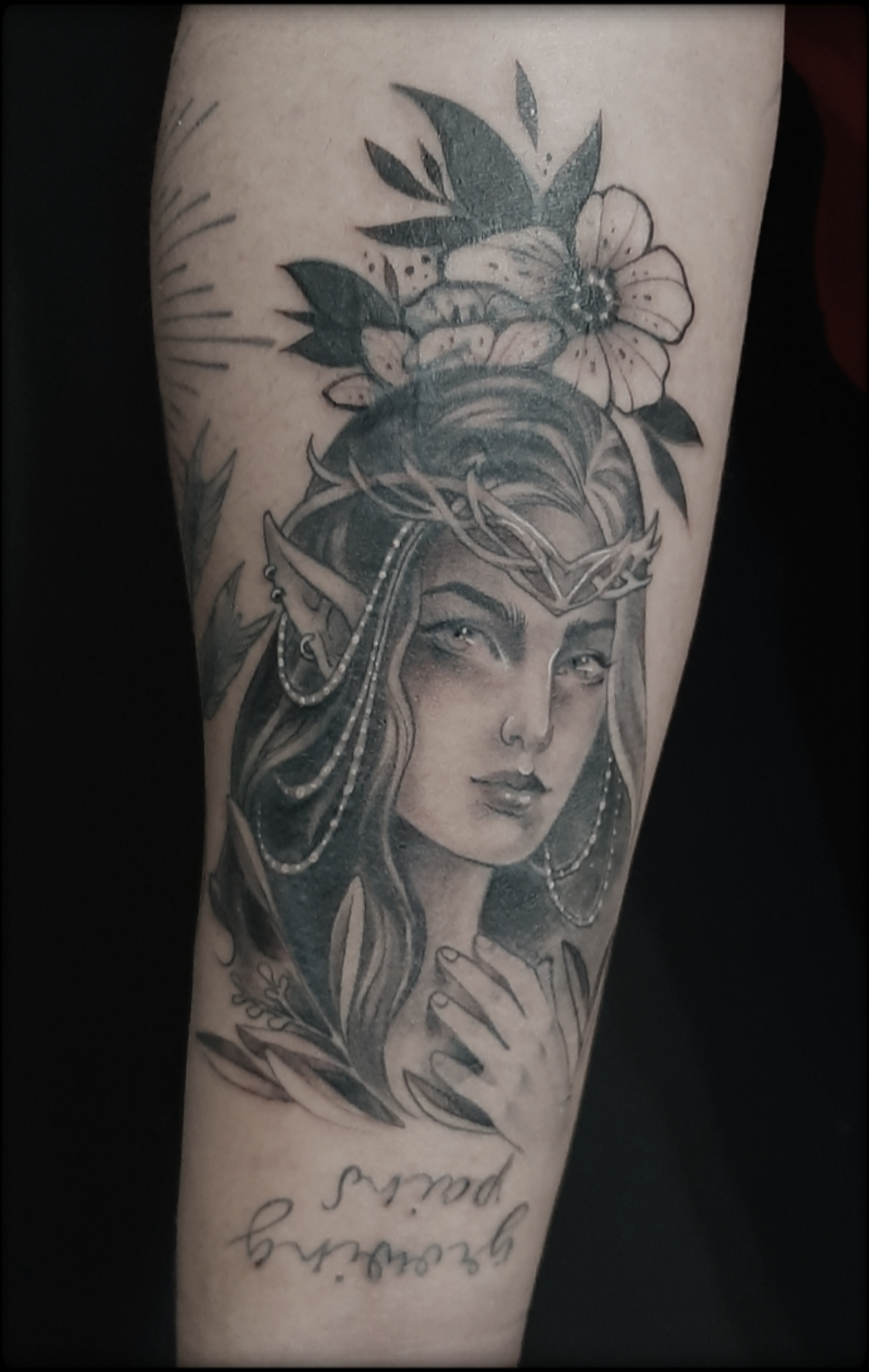 fairy tattoo black and grey