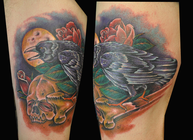 Crow, skull and rose tattoo