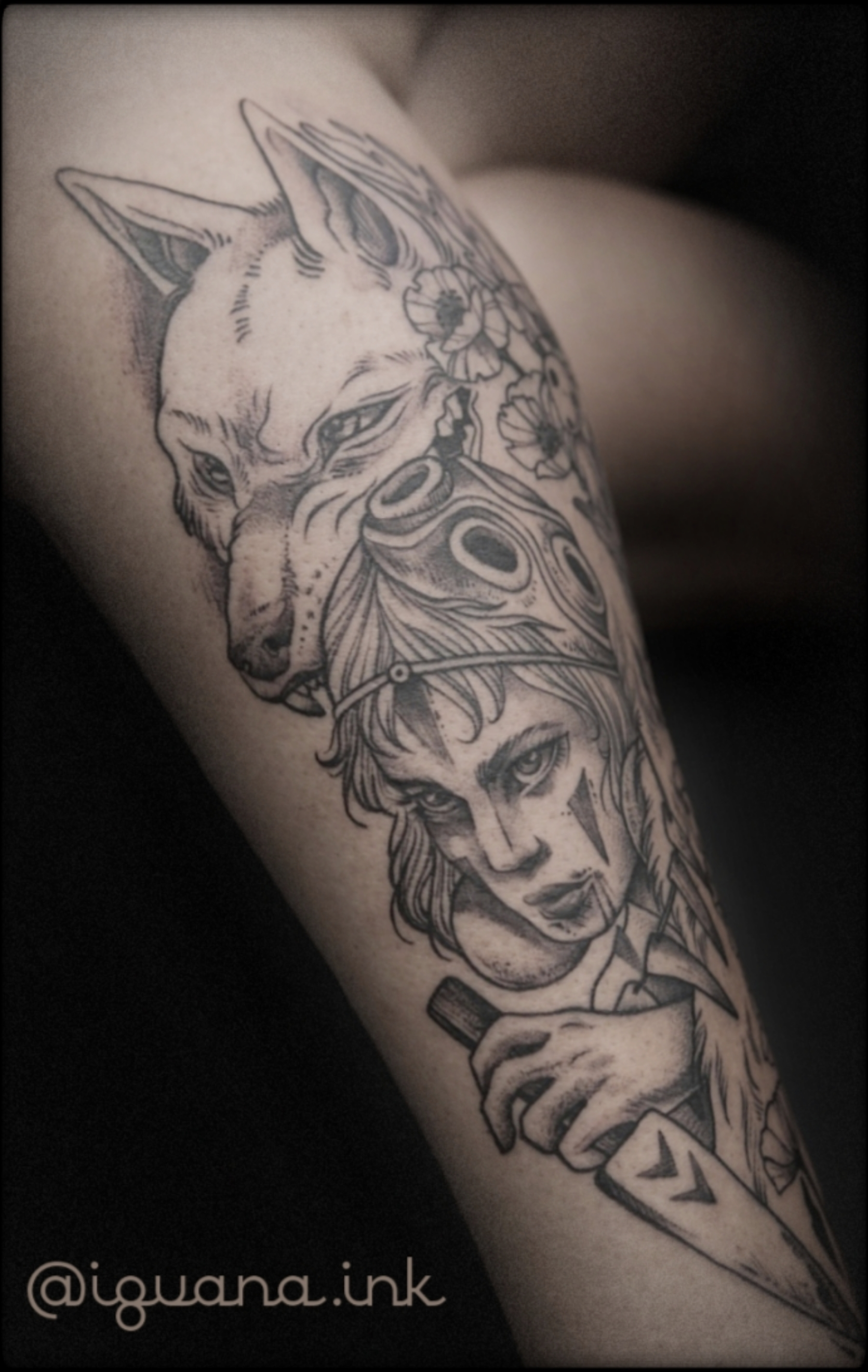 woman and wolf tattoo