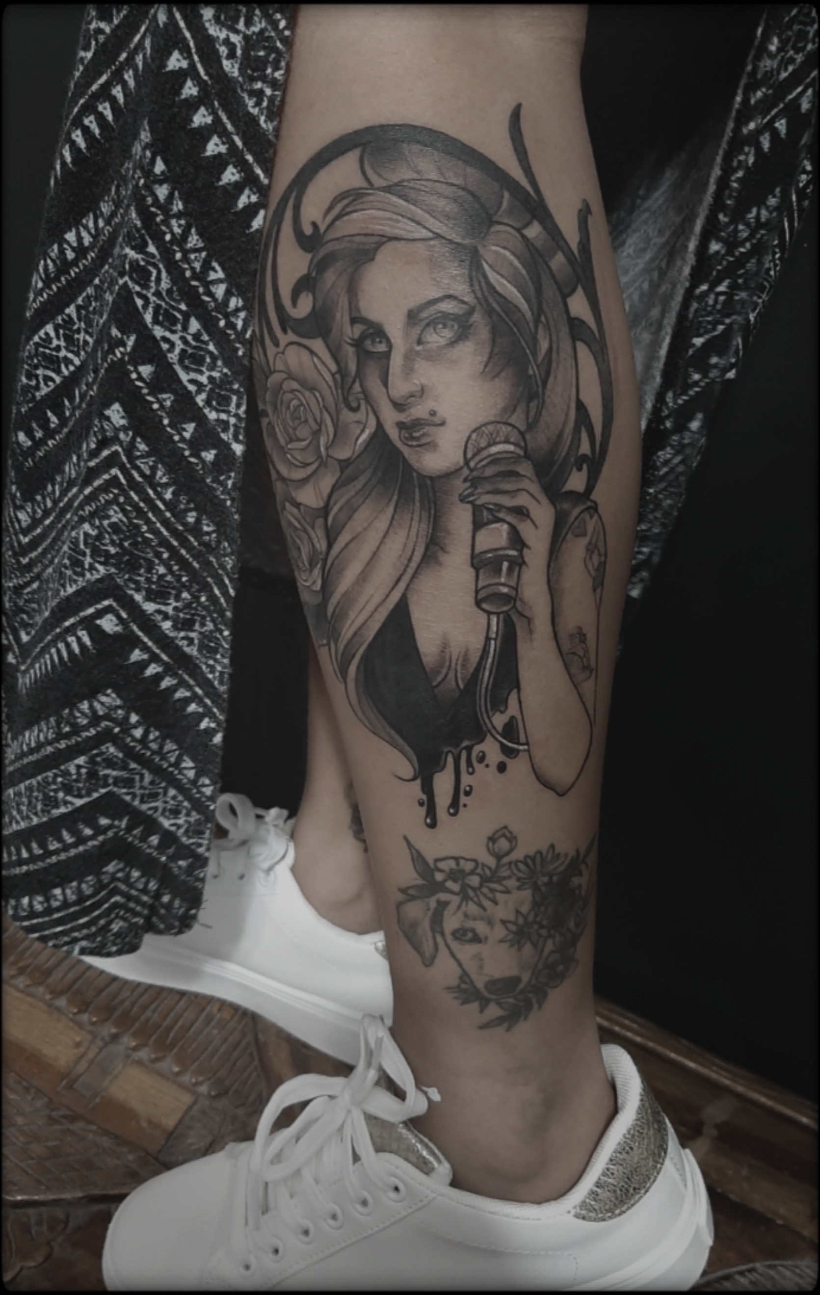 girl tattoo black and grey