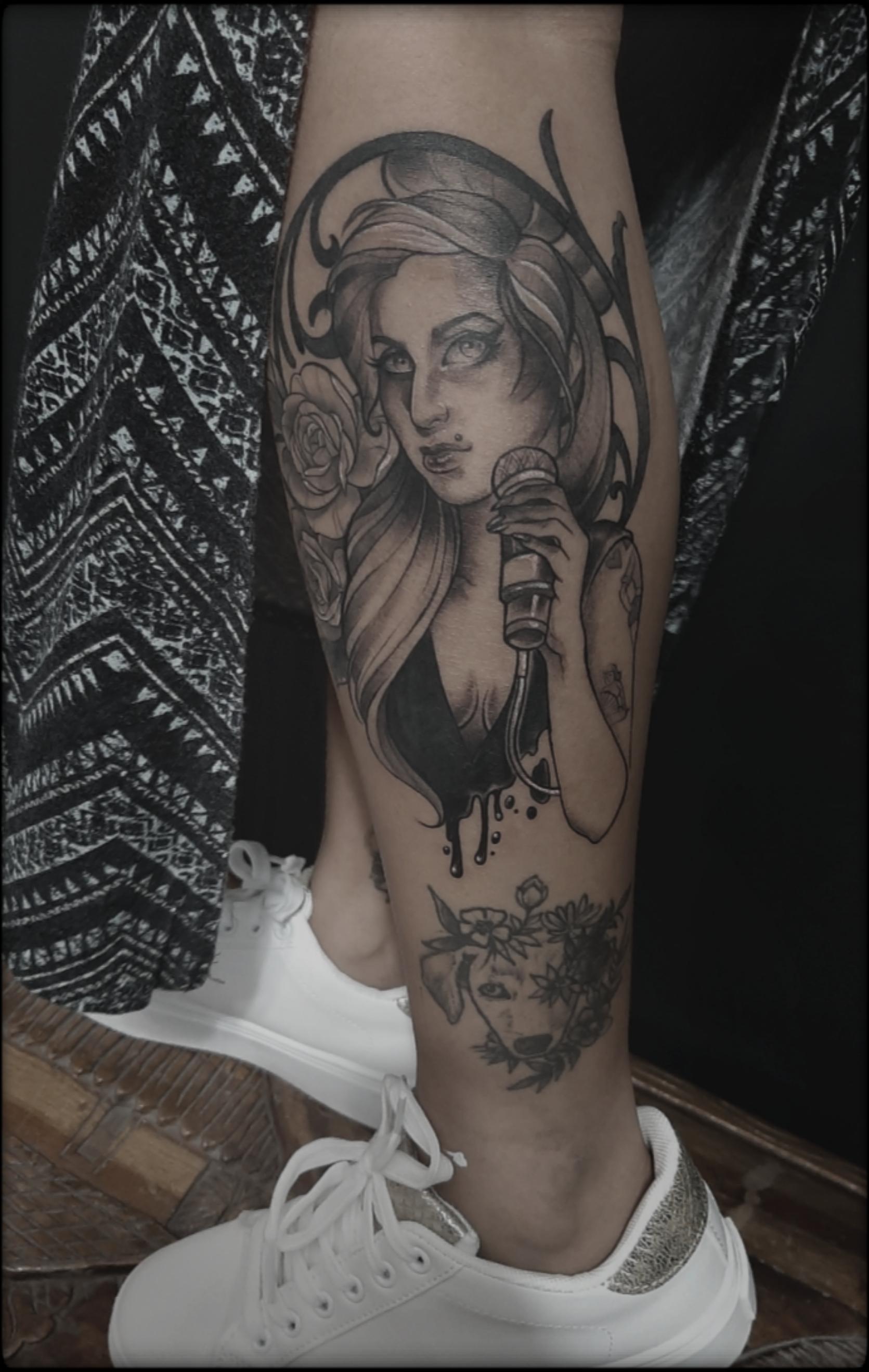 girl tattoo black and grey