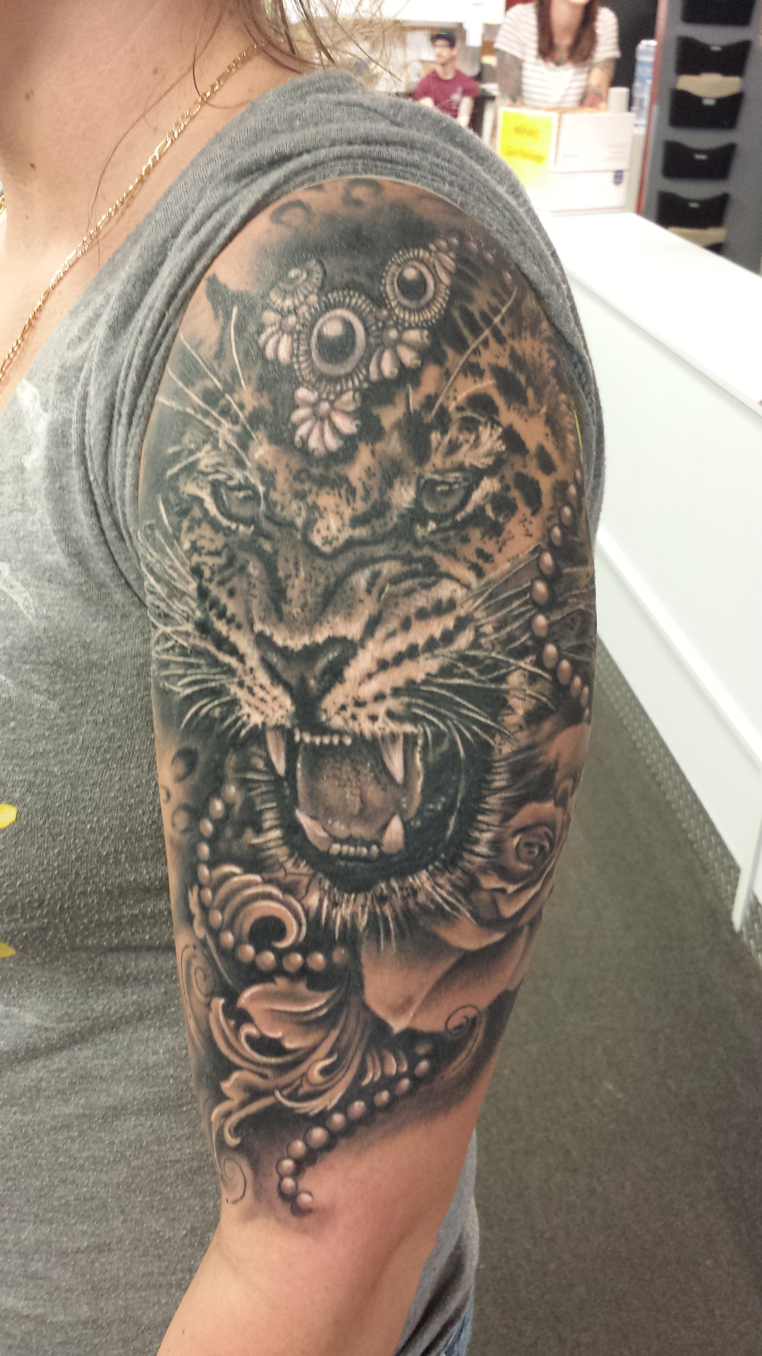 Leopard tattoo done by Wayne