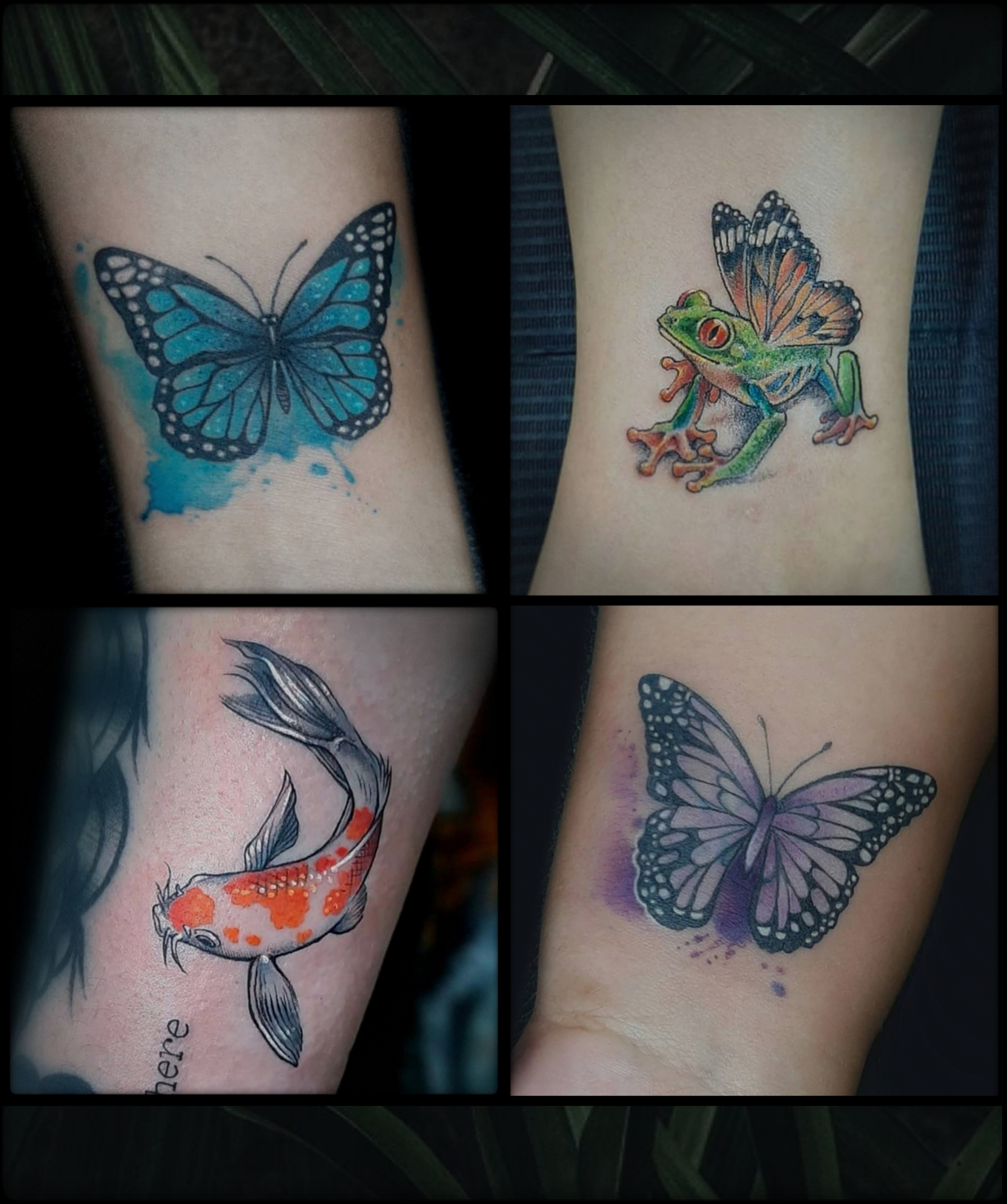 color tattoos butterfly , frog, koi