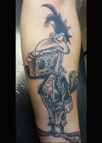 Rooster and boom box tattoo
